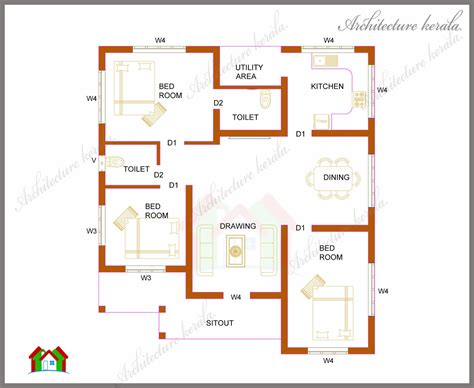 three bedrooms in 1200 square kerala house plan