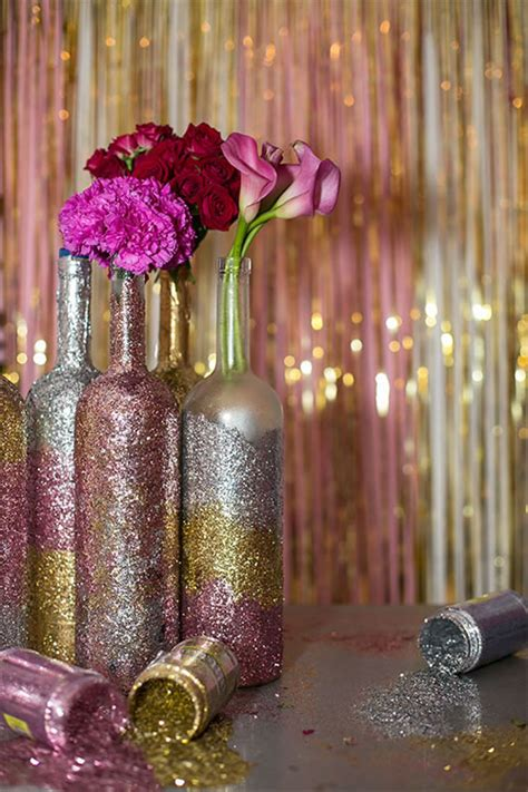 glitter wine bottle centerpieces home decor amp crafting
