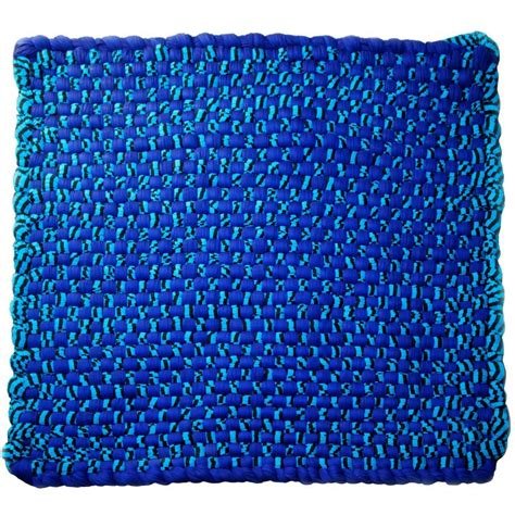 jersey rug blue potholder rug in woven rayon jersey by ww3 for sale at 1stdibs
