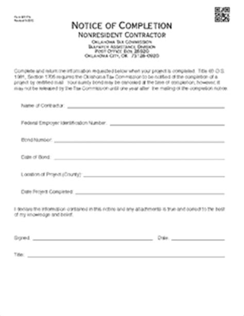 Form Bt 176 Fillable Notice Of Completion Nonresident Contractor Notice Of Completion Template