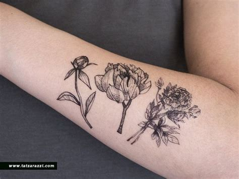 flower tattoo hipster floral temporary tattoo flowers bouquet peony nature black
