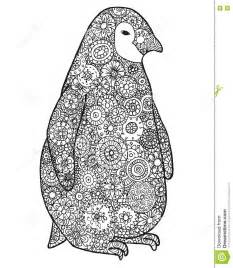 zen tangle zen doodle penguin zentangle animal silhouette vector coloring book contour