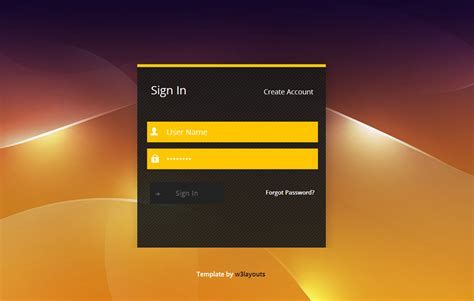 golden login form template by w3layouts