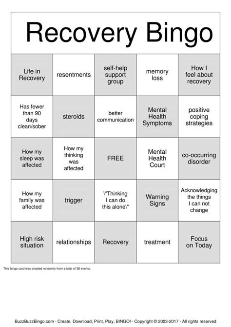 Printable Recovery Games | recovery bingo cards to download print and customize