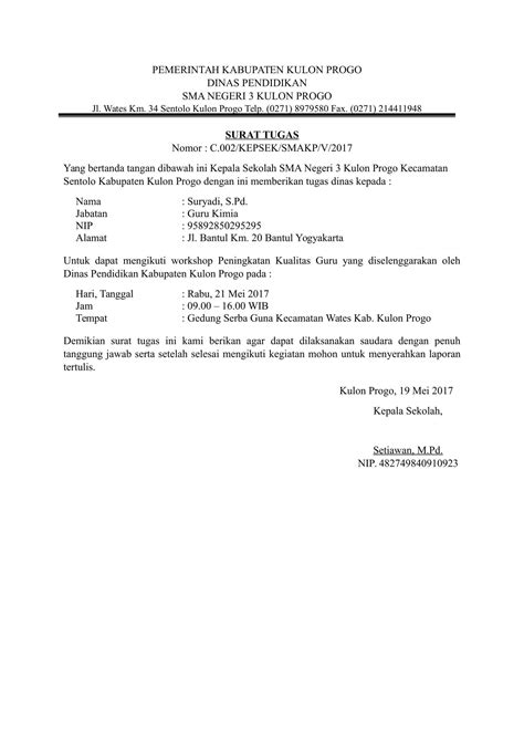 Surat Tugas by Contoh Surat Tugas Guru Untuk Mengikuti Workshop
