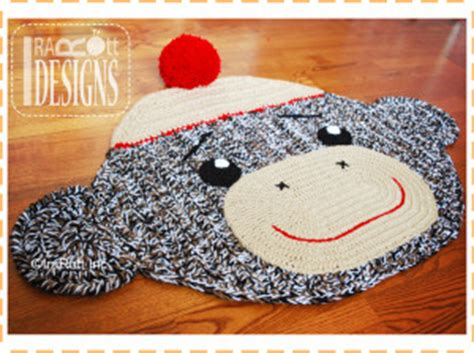 Sock Monkey Rug by Removable Non Slip Lining For Crochet Rugs The