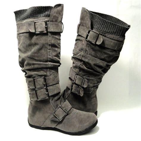 Womens Knee High Faux Suede Flat Winter Buckle Boots Black   womens knee high faux suede flat winter buckle boots gray