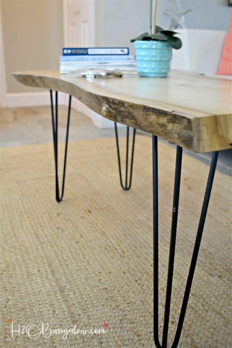 live edge coffee table diy hairpin leg diy live edge wood coffee table h20bungalow