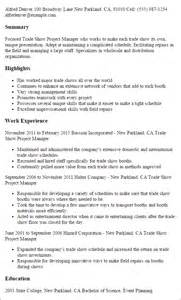 Show Resume Exles by Professional Trade Show Project Manager Templates To Showcase Your Talent Myperfectresume
