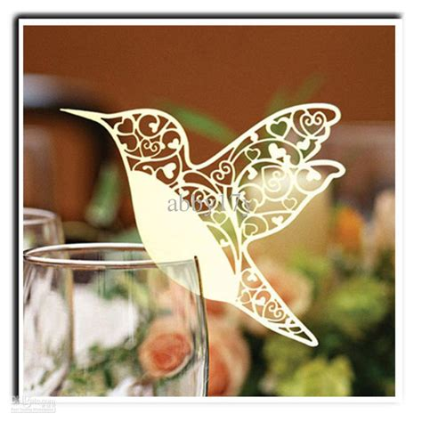 wine glass place cards template laser cutting wedding decoration pretty bird shape wine
