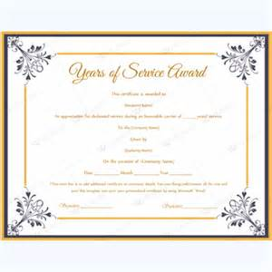 certificate for years of service template years of service award certificate templates word layouts