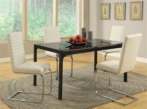 Black Glass Dining Table Set Modern Black Chrome Glass Dining Table Chairs Dining Room Furniture Set Ebay