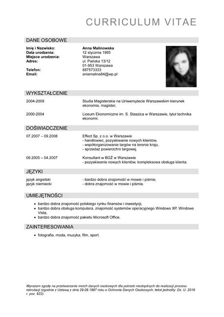 format zdjecia cv cv kierowca choice image download cv letter and format