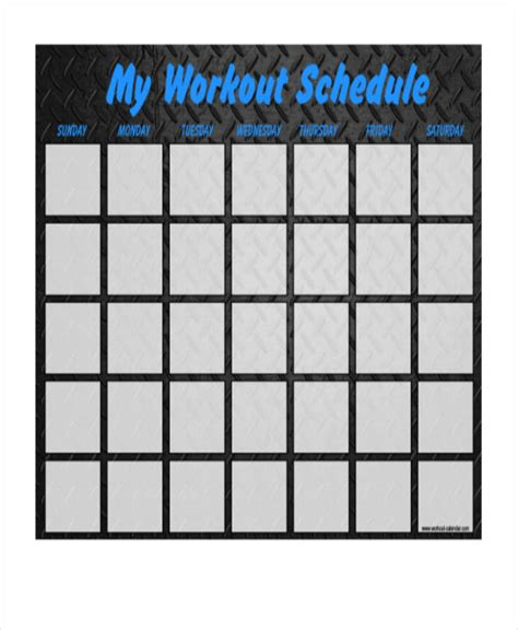 blank workout schedule template blank workout schedule templates 6 free word pdf