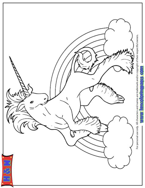 unicorn with rainbow coloring page rainbow unicorn drawing coloring page h m coloring pages