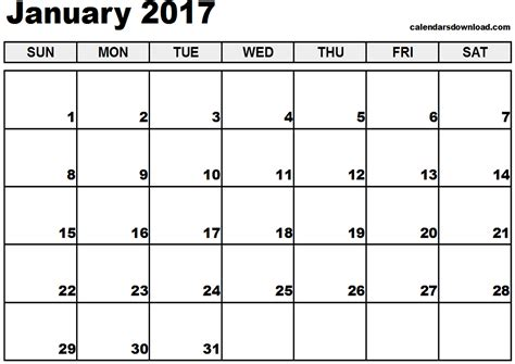 printable january schedule january 2017 calendar