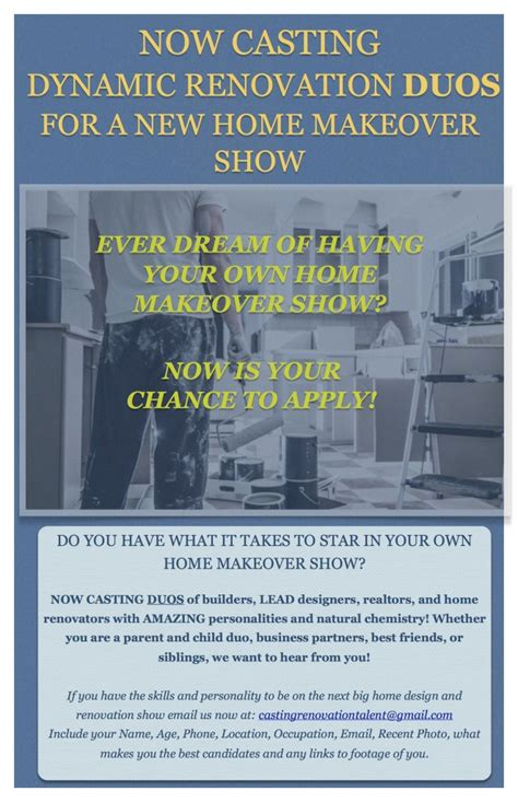 home makeover shows list new cable network show to in their own home makeover series auditions free