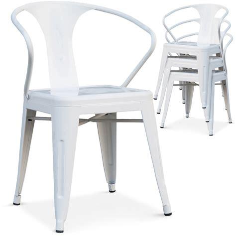 chaise empilable m 233 tal laqu 233 blanc lestendances fr