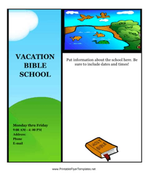 vbs flyer template vacation bible school flyer