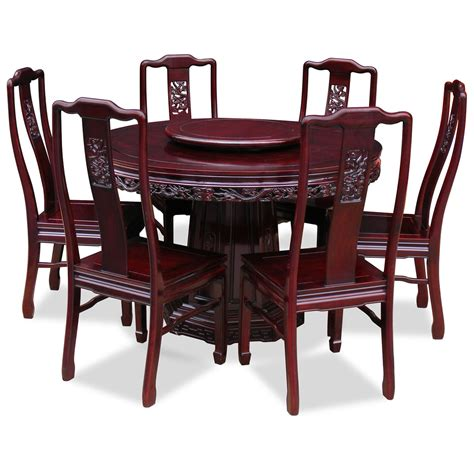 48in rosewood design dining table with 6 chairs