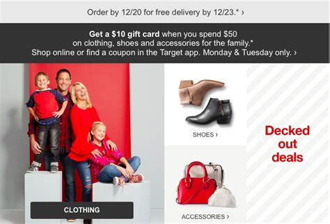 Target 10 Gift Card When You Spend 50 - target 10 gift card with 50 of clothing shoes accessories the accidental saver