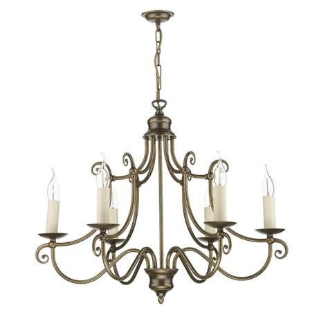 Artisan Chandelier Traditional Lighting For High Ceilings Hidcote 6 Arm In Aged Brass