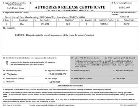 Faa Service Letter Definition Faa Form 8130 3