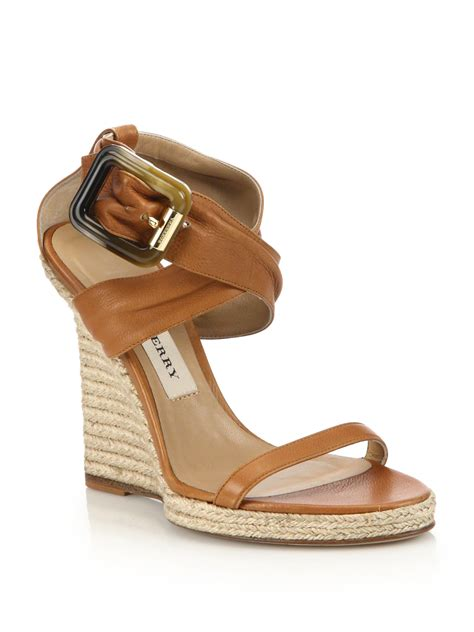 burberry catsbrook leather espadrille wedge sandals in