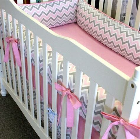 pink and grey chevron baby bedding pink and gray chevron 4pc girl crib bedding made to order