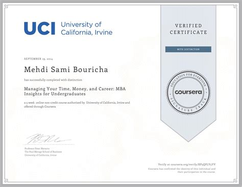 Uc Irvine Mba Application Checklist by Certifications Of Doctor Mehdi Bouricha