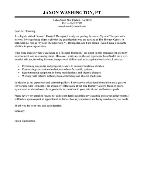 Cover Letter Examples For Physical Therapy