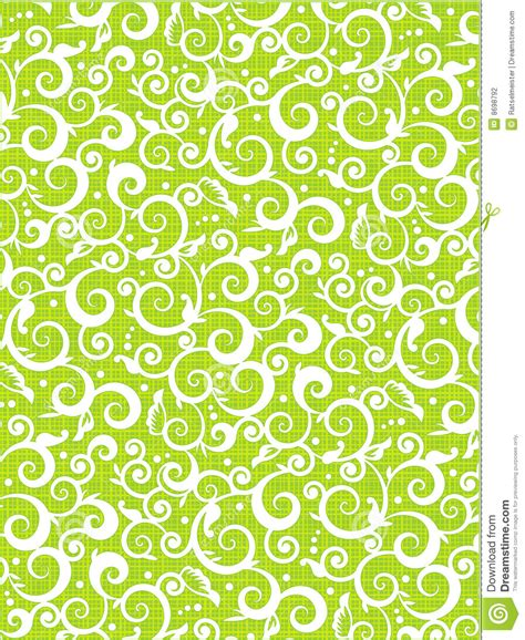 vector pattern background green floral scrolls pattern green background stock vector