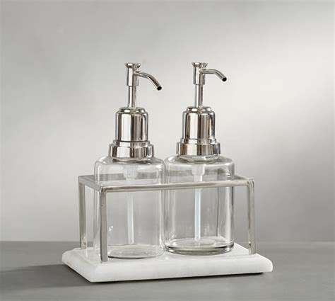 bathroom soap and lotion dispenser set windsor soap and lotion set pottery barn