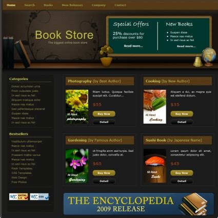 templates for bookstore book store free website templates in css html js format