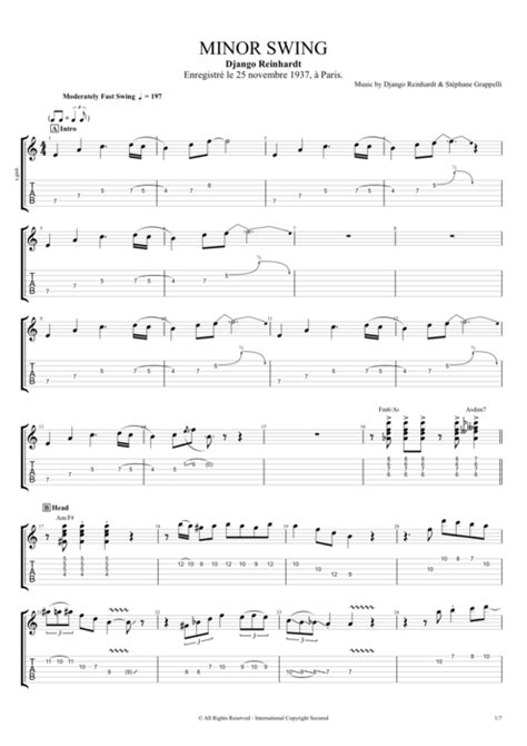 chords minor swing minor swing by django reinhardt full score guitar pro