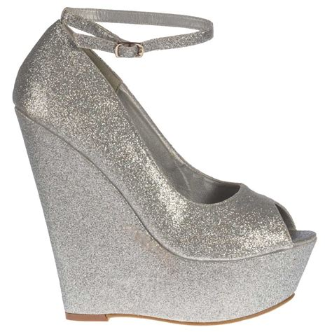 onlineshoe silver glitter wedge peep toe platform shoes
