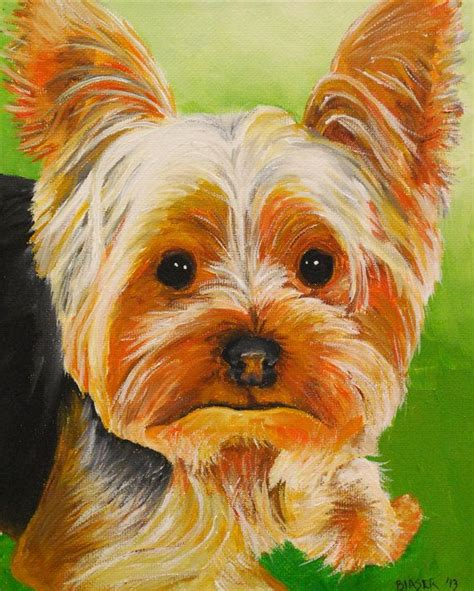original yorkshire terrier yorkie dog art 8x10 original painting yorkshire by