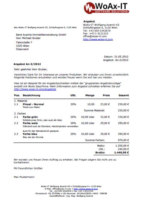 Angebot Legen Muster Vorlagen Und Muster Der Rechnungssoftware Easyfirma