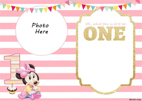 minnie mouse birthday invitation templates free free printable minnie mouse 1st invitation templates