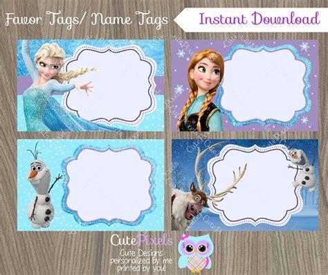 printable frozen favor tags frozen favor tags frozen name tags frozen favor by cutepixels