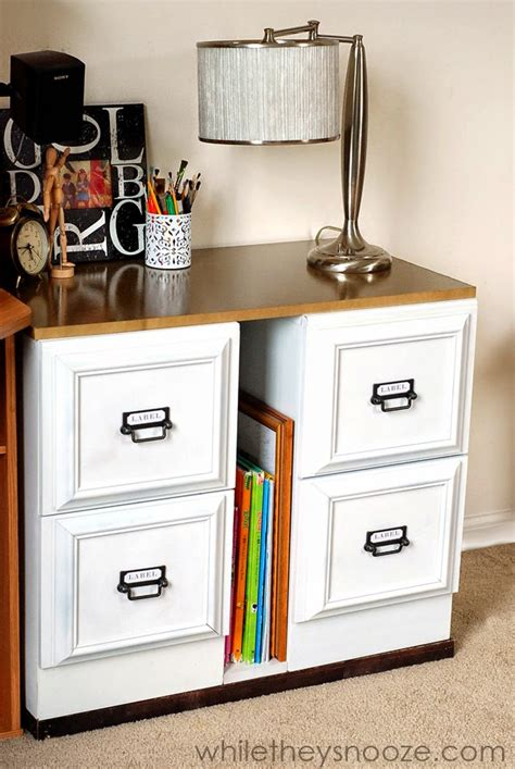 Metal Filing Cabinet Makeover Diy Metal File Cabinet Makeover Add A Longer Top To Transform Into A Desk The Cabinets Looks