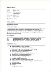 Resume Format Nz Cv Formats And Exles