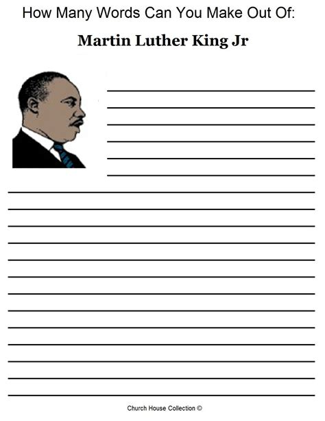 free martin luther king jr worksheets how many words can