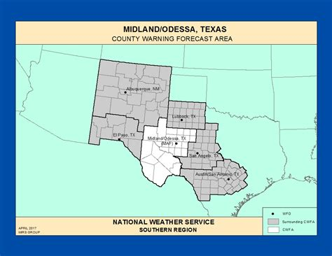 map of midland texas and surrounding areas county warning forecast area wfos