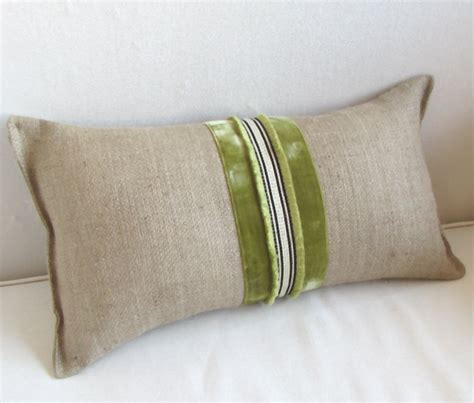 burlap lumbar accent pillow vintage velvet ribbon trim