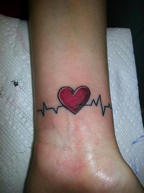 heart and ekg wrist tattoo my fav tat so far future