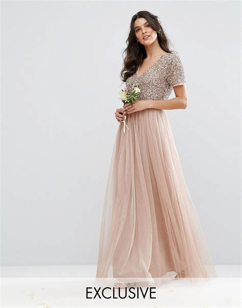 Special Discount Last Stock Only Baju Pesta Wedding v neck maxi tulle dress with tonal delicate sequins at asos