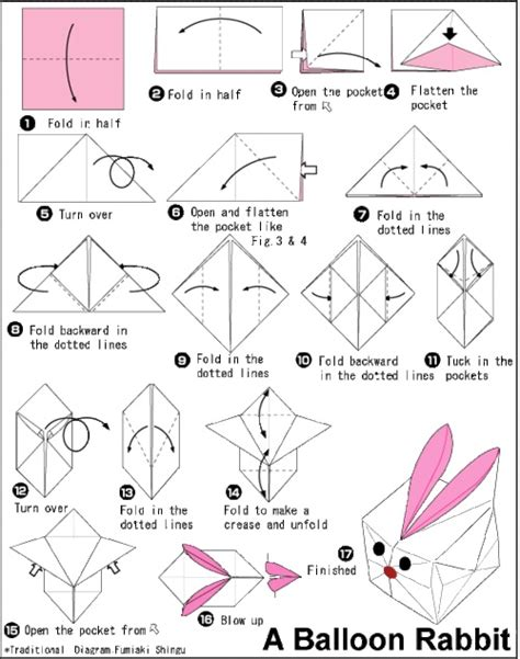 Bunny Origami - balloon origami rabbit easter