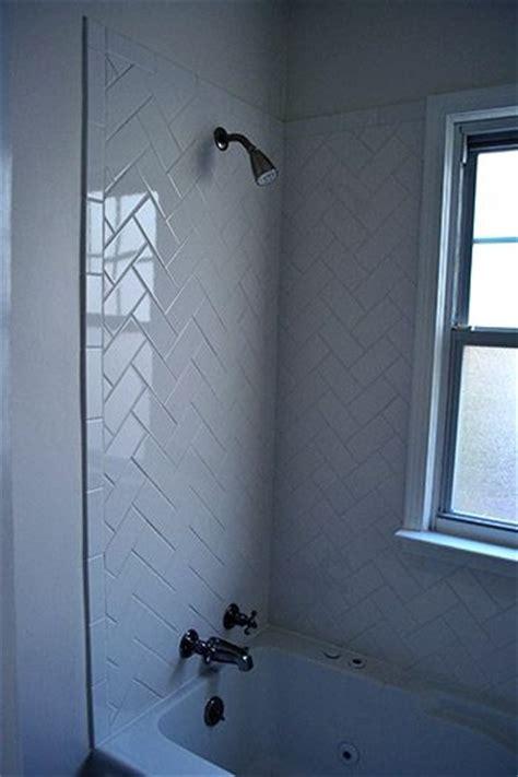 main bathroom white subway tile tub surround offset herringbone subway tile herringbone and subway tiles on