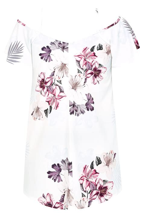 24908 White Pink Flower Size L white pink floral palm cold shoulder jersey cami top